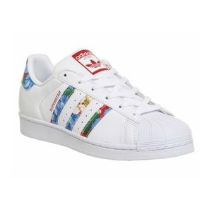 Adidas Superstar 1 WHITE RED FLORAL Trainers Shoes